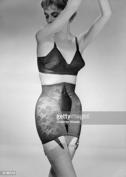 Black bra and girdle with control panel