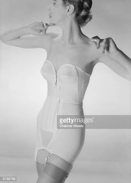 Long line strapless bra and girdle with zip front