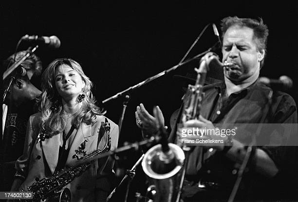 Dutch sax players Hans Dulfer performs live on stage with his daughter Candy Dulfer at the Paradiso in Amsterdam Netherlands on 11th October 1989