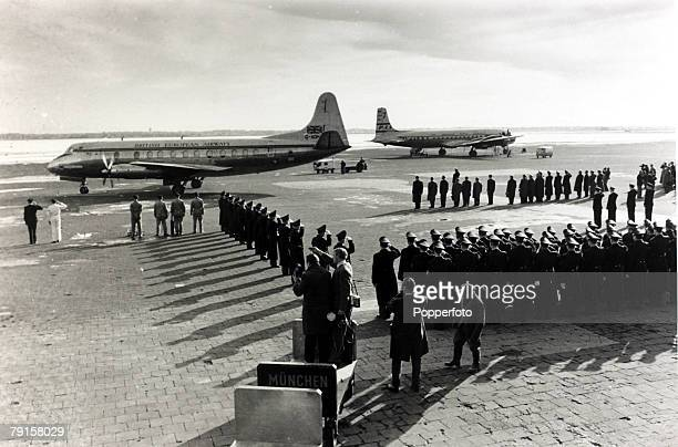 The BEA aircraft carrying the coffins of the victims of the crash at Munich in which 23 people died including 8 Manchester United footballers about...