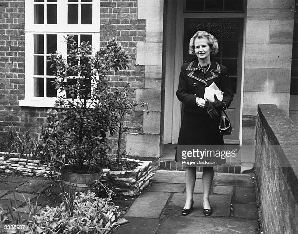 British politician Margaret Thatcher leaving her Chelsea home to attend the second ballot in the election for the leadership of the Conservative party