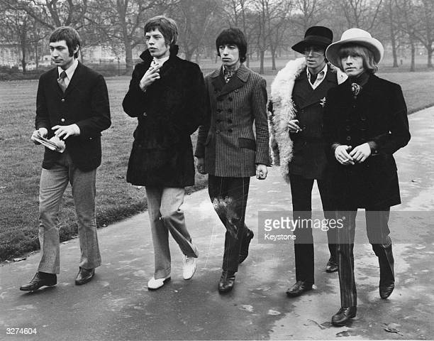 The Rolling Stones walking in London's Green Park prior to their visit to the United States to appear on the Ed Sullivan show They are from left to...