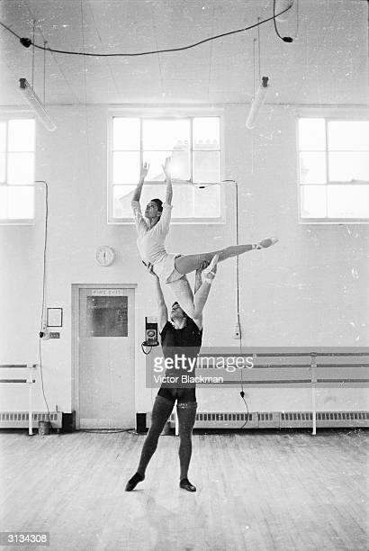 British ballerina Margot Fonteyn rehearsing with her new partney David Wall principal dancer with the Royal Ballet Touring Company