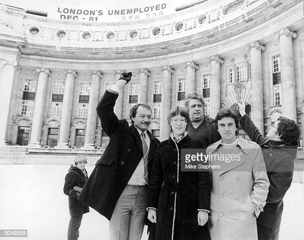 Greater London Council leader Ken Livingstone and colleagues Val Wise Charlie Rossi John McDonnell and Michael Ward gather outside the GLC...