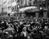 Crowds waiting outside the Palladium London hoping to catch a glimpse of Frank Sinatra who is performing there