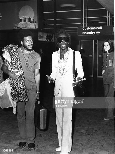 American jazz musician Miles Davis arriving at London Airport
