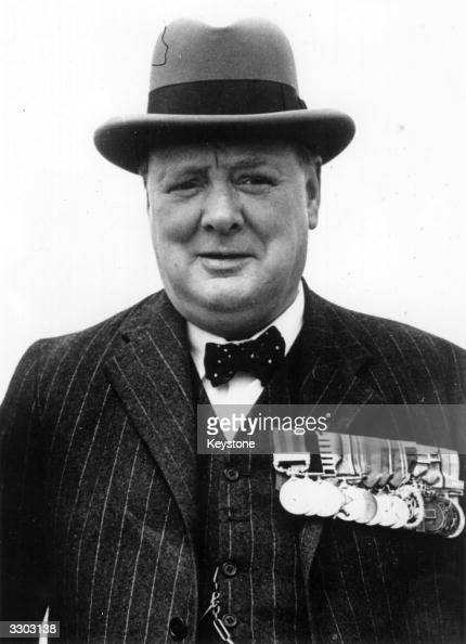 Winston Churchill wearing his medals at the Crystal Palace