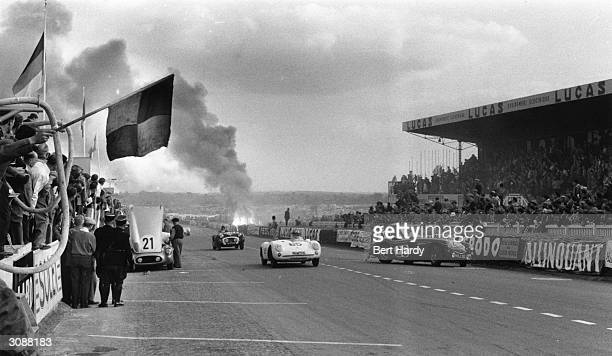 Scene of the disaster at Le Mans when driver Pierre Levegh's Mercedes crashed into the stand killing him and 80 spectators Original Publication...