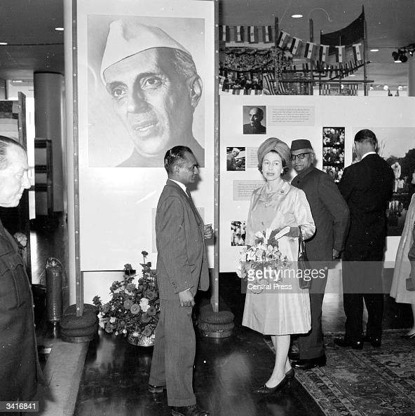 Queen Elizabeth II at the 'Nehru His Life And India' exhibition at the Royal Festival Hall London
