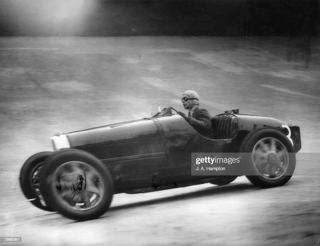 Racing driver R L Bowes in his Type 35B Bugatti racing car during the Weybridge Senior Mountain Handicap race at Brooklands in Surrey Bowes won the...