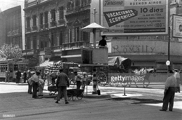 A busy junction in Buenos Aires Original Publication Picture Post 4971 A Visit To Buenos Aires pub1950