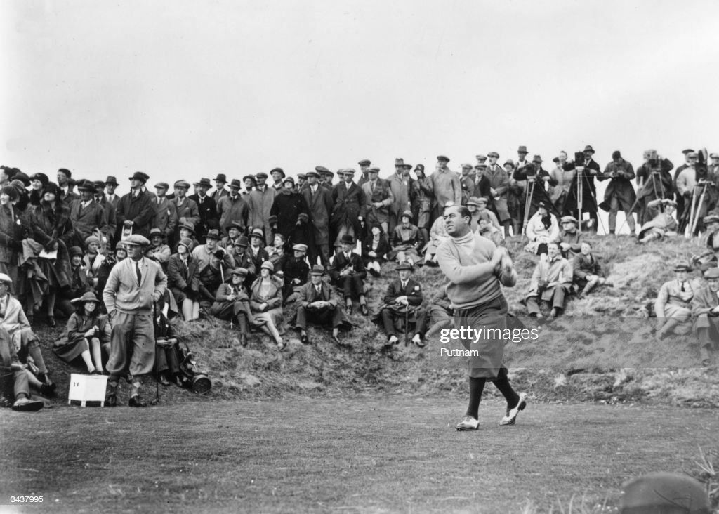 American golfer Walter Hagen at the 14th hole during the British Open golf championship