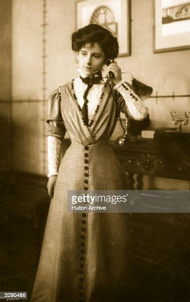 Actress Barbara Hannay in a scene from the play 'The Builder of Bridges' Playwright Alfred Sutro