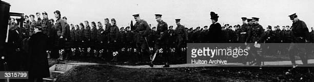 King George V and Lord Kitchener inspect Canadian and Canadian Highlander troops on Salisbury Plain England Original Publication Illustrated War News...