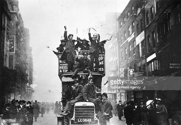 Crowds celebrating the signing of the Armistice at the end of World War I