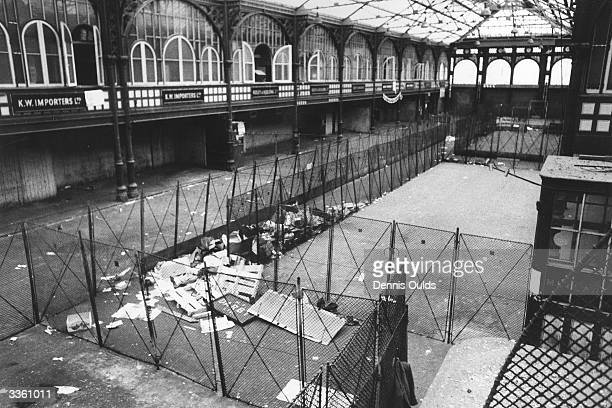 The old Covent Garden fruit vegetable and flower market lies deserted at its Covent Garden site the market having moved to a new location at Vauxhall...