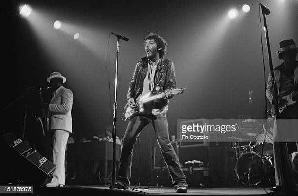 Bruce Springsteen and Clarence Clemons from the EStreet Band perform live on stage at the Carlton Theatre in Red Bank New Jersey USA during the Born...