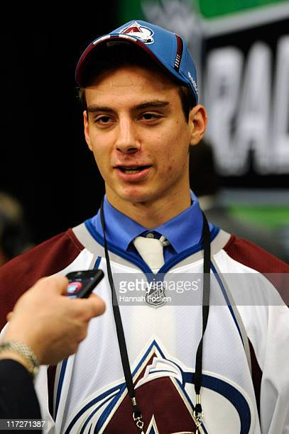 11th overall pick Duncan Siemens by the Colorado Avalanche speaks to the media during day one of the 2011 NHL Entry Draft at Xcel Energy Center on...