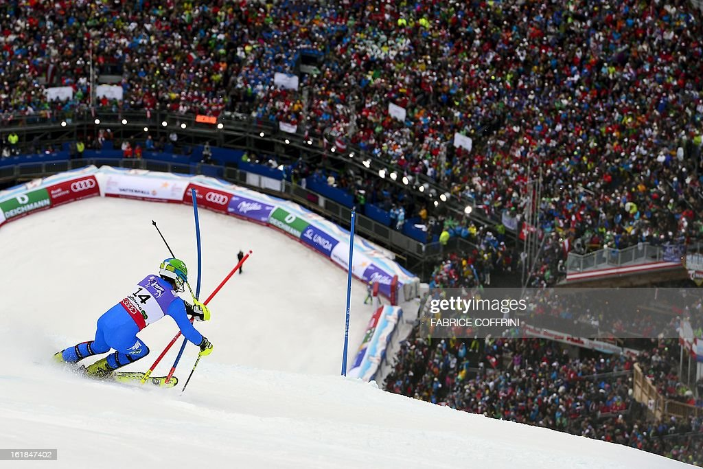 11th placed Italy's Stefano Gross competes the second run of the men's slalom at the 2013 Ski World Championships in Schladming, Austria on February 17, 2013.