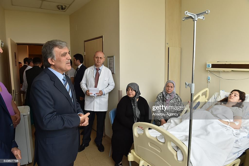 11th President of Turkey Abdullah Gul (L) visits the Ataturk International Airport terror attack victims at Bakirkoy Dr. Sadi Konuk Hospital in Istanbul, Turkey on Jun 29, 2016.