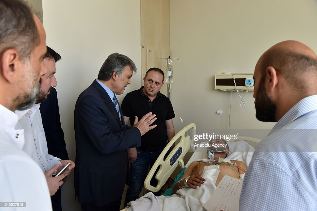 11th President of Turkey Abdullah Gul (C) visits the Ataturk International Airport terror attack victims at Bakirkoy Dr. Sadi Konuk Hospital in Istanbul, Turkey on Jun 29, 2016.