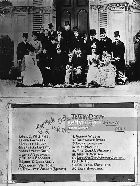 A group of society figures at Tranby Croft the country home of Sir Arthur Wilson at the time of the Royal Baccarat Scandal 11th September 1890...