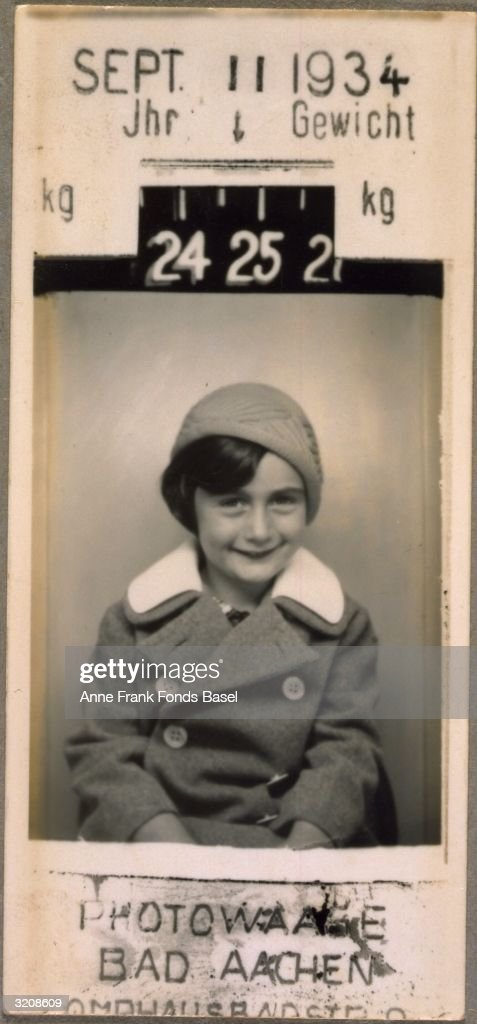 A portrait of <a gi-track='captionPersonalityLinkClicked' href=/galleries/search?phrase=Anne+Frank&family=editorial&specificpeople=173492 ng-click='$event.stopPropagation()'>Anne Frank</a> (1929 - 1945) taken in a photography booth with her weight and the date the photo was taken printed on the border, Aachen, Germany. From <a gi-track='captionPersonalityLinkClicked' href=/galleries/search?phrase=Anne+Frank&family=editorial&specificpeople=173492 ng-click='$event.stopPropagation()'>Anne Frank</a>'s photo album.