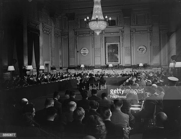 The opening meeting of the International Monetary Fund at the Institute of Civil Engineers in London under the chairmanship of Hugh Dalton Chancellor...