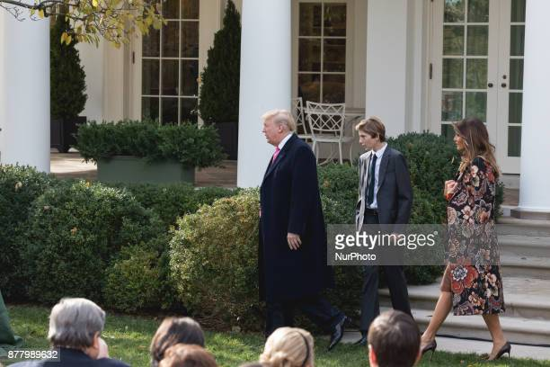 11yearold Barron Trump and his Mom First Lady Melania Trump head over with President Donalad Trump to pardon Drumstick a 40pound White Holland breed...