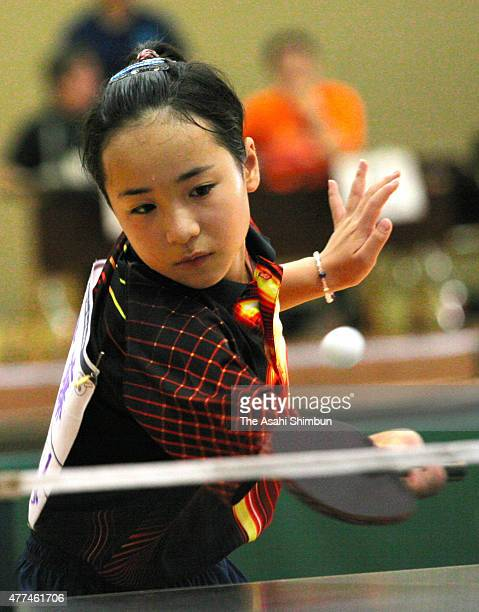 11yearold Mima Ito competes in the Women's singles repecharge of the Shizuoka Prefecture qualifier tournament of the All Japan Table Tennis...