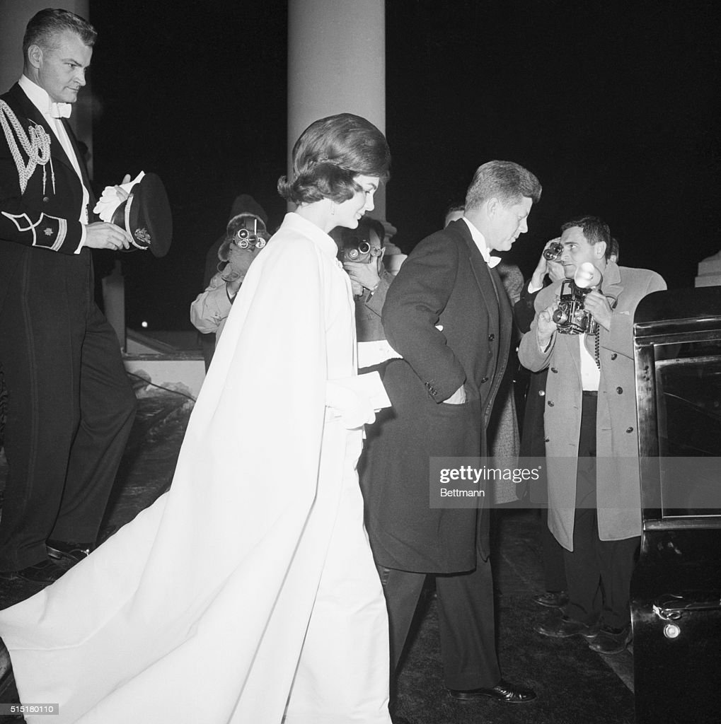 1/20/1961Washington DC Full length profile shot of President and Mrs John F Kennedy as they left the White House to attend a series of inaugural...