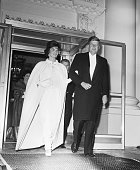 1/20/1961Washington DC Full length shot of President and Mrs John F Kennedy as they left the White House to attend a series of inaugural balls Five...