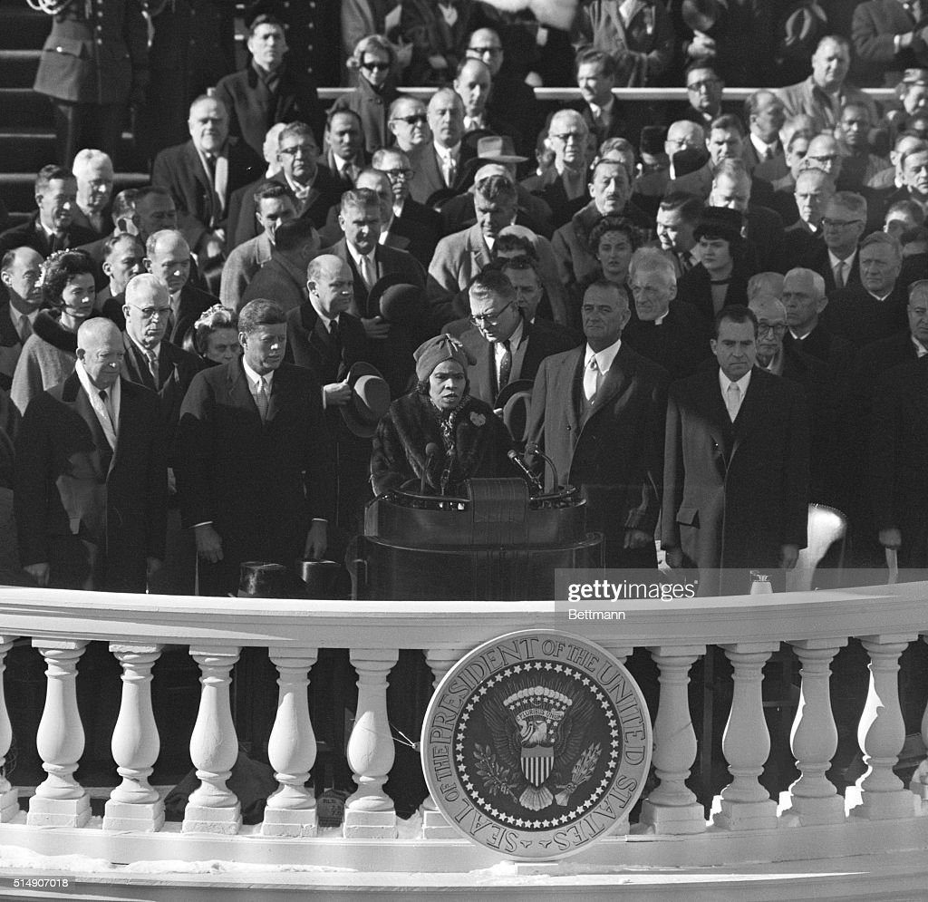 1/20/1961Washington DC Marian Anderson sings National Anthem at Kennedy Inauguration Photo depicts JFK standing near Marian Anderson singing Anthem...