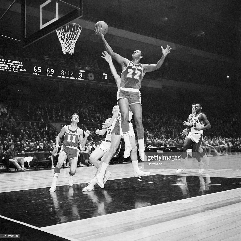 Elgin Baylor Leaps Hoop W Basketball