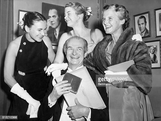 12/14/54Stockholm Sweden Professor Linus Pauling 1954 Nobel Prize winner in Chemistry with family members daughterinlaw Anita Pauling daughter Linda...