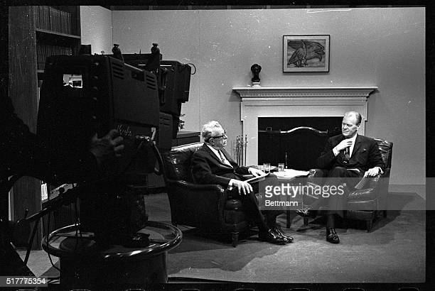 Wasington DC Congressional leaders Senator Everett M Dirkson and Represenative Gerald R Ford are shown in a CBS studio taping their response to an...