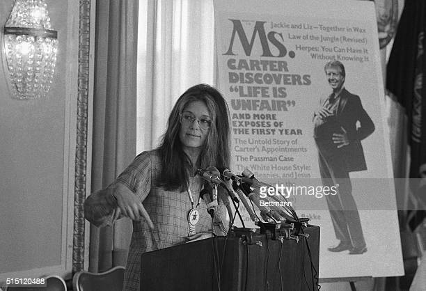 Washington DC Gloria Steinem editor of Ms Magazine at a news conference at the National Press Club 1216 said Pres Carter's first year in office has...