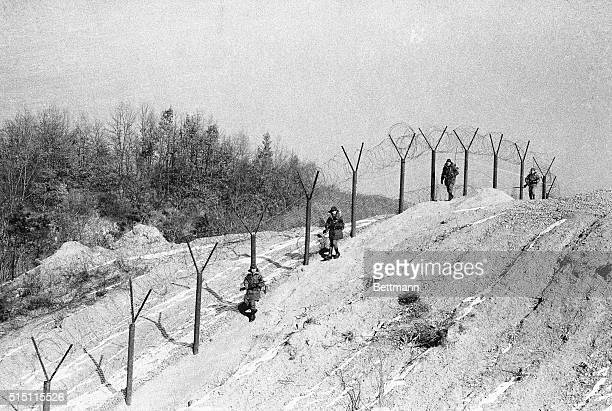 1/2/1968Along the Western Truce Front Korea US troops manning the western tip of 151mile Korean truce front have recently completed a 15mile fence as...