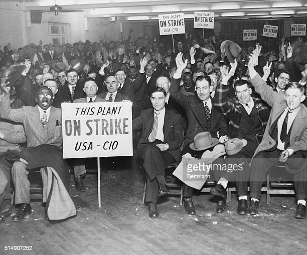 1/22/1946Gary IN Workers of the Carnegie Illinois Steel Corporation are shown at a mass meeting in Gary where it was charged that the company...