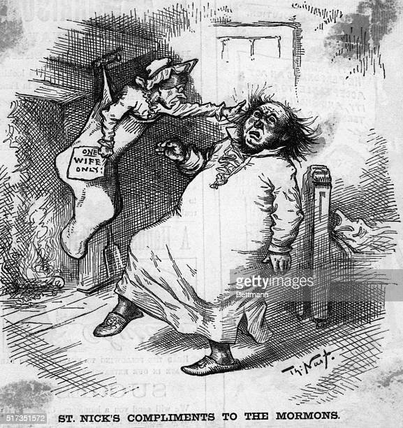 12/22/1883Depicted in this cartoon is a women in a stocking hitting a man on the side of his head She holds in her hand a sign reading 'One Wife...