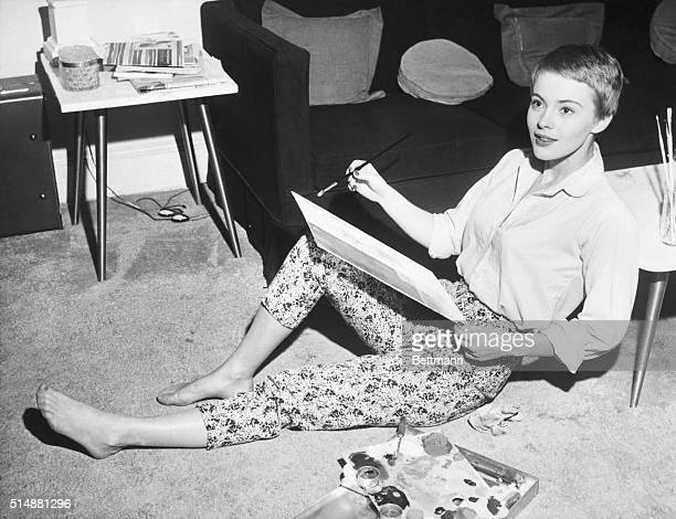 New York NY 19 year old Jean Seberg relaxes paints in her New York apartment while awaiting her next film asignment The Iowa born teenager who has...