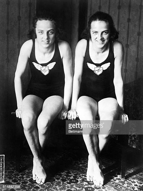 1/25/1920Ruth and Eleanor Smith 16 year old twins and the only twin mermaids in the world photographed at their home in NY Both girls won victories...