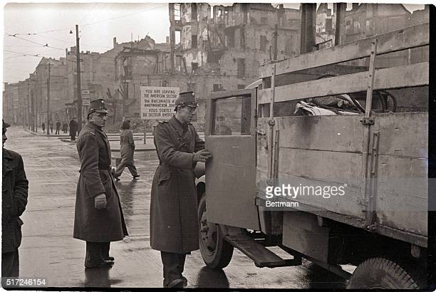 1/25/1949Berlin Germany Stumm police on orders from the allied kommandatura check through vehicles for industrial equipment at sector boundaries here...