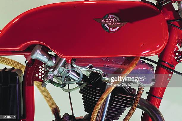 A 1958 125cc Ducati motorcycle is on display in the Ducati Museum September 13 2002 in Borgo Panigale Bologna Italy Ducati maker of topoftheline...