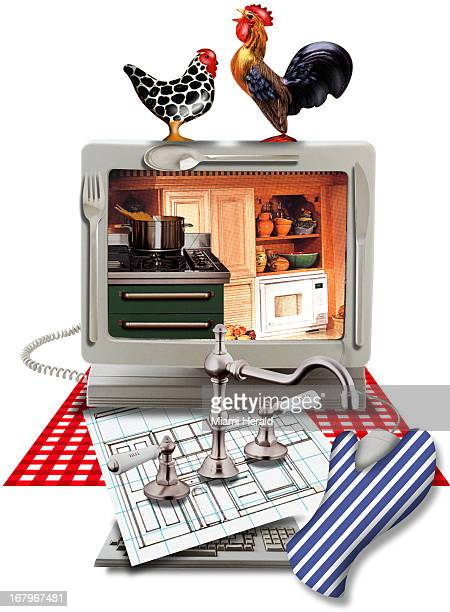 125p x 169p Staff color illustration of a computer monitor with photo of kitchen on screen decorated with chicken rooster and utensils new faucet...