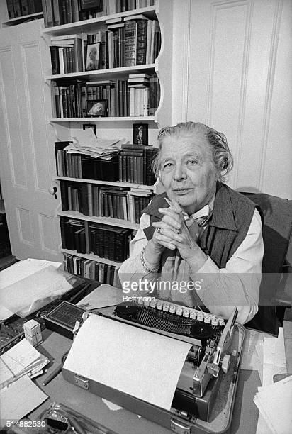 Marguerite Yourcenar candidate to become Academie Francaise's first woman member relaxes in her Miane home here 11/29 France's most exclusive...