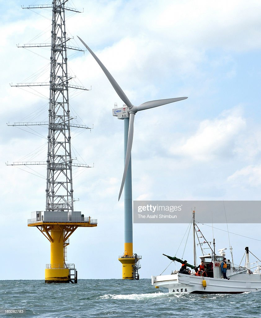 A 126-meter-high giant windwill start its operation on March 4, 2013 in Choshi, Chiba, Japan. The windmill, set up by New Energy and Industrial Technology Development Organization (NEDO) and Tokyo Electric Power Co., (TEPCO) with the output of 2,400 kilowatts.