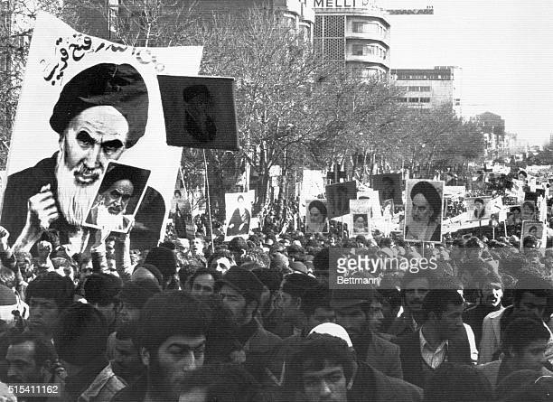 1/27/1979Teheran Iran Demonstrators demanding the return of Ayatollah Khomeini and carrying his posters march through the capital city An estimated...