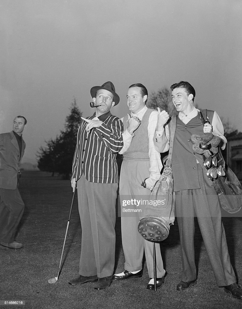 Left to right: Bing Crosby, Bob Hope, and Frank Sinatra play golf.