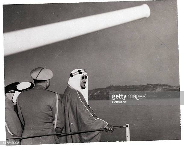 1/29/1957New York New York King Ibn Saud of Saudi Arabia looks toward the shore from aboard the US Destroyer Wallis A Lee after transferring from the...